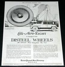 1919 OLD MAGAZINE PRINT AD, DISTEEL WHEELS, COLE AERO-EIGHT ART!