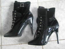 NEW Black ankle boots w/buckles size 9 sexy Punk / dominatrix Free S&H PROM !!