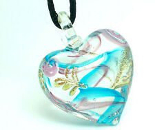 1pc heart design lampwork glass pendant necklace p004