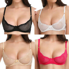 62c985051219c7 Women 1 2 Cup Lace Soft Summer Mesh Underwired Demi Bra Unlined Bralette  34A 36B