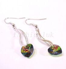 Swarovski Element Rainbow Green Crystal White Gold Plated Dangle Hook Earrings