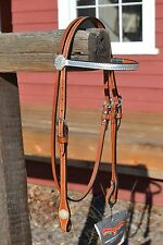 "Circle Y 5/8"" Silver Metallic Browband Headstall with Crystal Silver Conchos"
