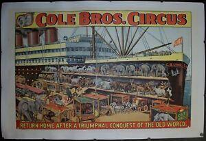 c. 1930s Cole Bros Circus Return Home After A Triumphal Conquest Poster Original