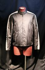 House of Leather Lined Nylon Black / Silver  Cafe Racer Jacket  Mens Small