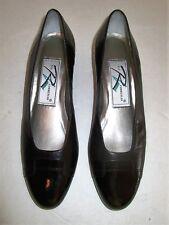 "ROS HOMMERSON Women's Black Leather Upper Slip On Shoes 1.5"" Heel Size 7 Slim"