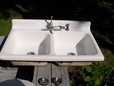 vtg cast iron white porcelain double basin kitchen sink american standard - Cast Iron Kitchen Sinks