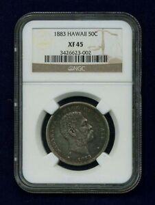HAWAII  KALAKAUA I  1883  50 CENTS / HALF-DOLLAR SILVER COIN, NGC CERTIFIED XF45