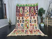 Moroccan Boujad Handmade Tribal Carpet 5'4x8'7 Berber Abstract Colorful Wool Rug