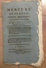 MERCURE DE FRANCE Journal Historique Politique Littér  N°CII 22 Prairial An II