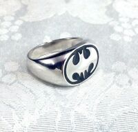 Batman Bat Symbol Signet Superhero Solid Sterling Silver Men's Ring Size 9 10 11