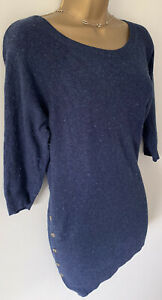 Fat face Navy Blue Soft Knit jumper tunic dress cotton mix With Side Buttons -12