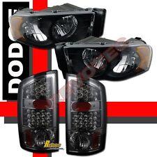 02-05 Dodge Ram 1500 2500 3500 Black Pickup Headlights & Smoke LED Tail Lights