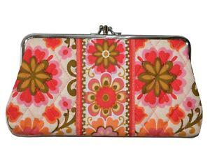 Vera Bradley Double Kiss Lock Quilt Clutch Purse Bag LG Wallet Handbag