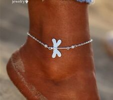 925 Silver plated Butterfly Anklet Pearl Leg Bracelet Beach Jewellery Box Gift A