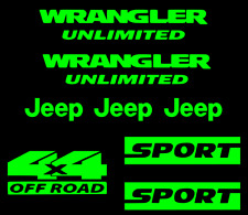Jeep wrangler unlimited sport stickers GREEN 4x4 offroad includes 8 stickers