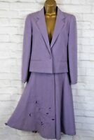 Jacques Vert Purple Lilac Jacket Skirt Outfit Suit Size UK 10 Smart Occasion