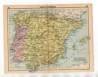 Antique Map Of Spain & Portugal John Bartholomew C1920