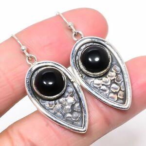 """Brazilian Black Onyx Oxidize Gemstone 925 Sterling Silver Earring 1.73"""" T2711"""