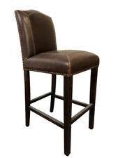 Classic French Brown Italian Leather Walnut Finish Timber Bar Stool - 2xPcs