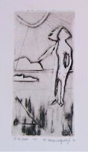 Beach Girl PICASSO style 1980 etching done by student who's now a LISTED artist!