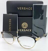 NEW Versace V-Rock RX Frame Glasses VE1259Q 1443 52 Black Gold AUTHENTIC women