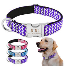 Nylon Personalised Dog Collars Engraved ID Name Phone Custom Adjustable Bulldog