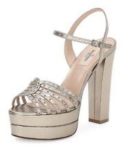 Valentino Love Latch Metallic Platform Sandal, Alba $995 Size 41.5