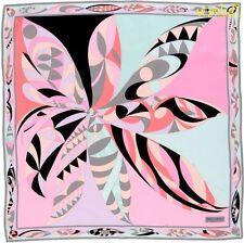 "EMILIO PUCCI blush Pink & seafoam UZBEKI silk 34"" LARGE scarf NEW Authentic $340"