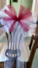 Sale 12pc $30 White And Burgundy Tulle Wedding Pew Bows OR ANY COLOR  RUSH AVAIL