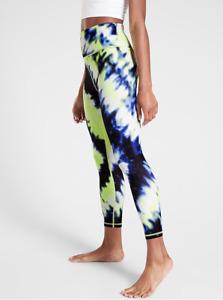 ATHLETA XXSP Elation Tie Dye 7/8 Tight Leggings, Cobalt Blue Workout XXS PETITE