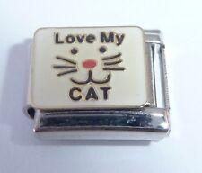 LOVE MY CAT Italian Charm I Kitten Face E105 9mm fits Classic Starter Bracelets