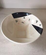 Art Deco Bowl Centerpiece Serving Bowl Cermic Pink Black Vintage