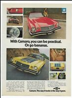 1974 Yellow Chevrolet Camaro Z28 Ad ~ Red Camaro Sport ~ Practical or Go Bananas