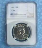 1962 NGC Proof 66 Franklin Silver Half Dollar, Gem PF 66 Silver 50 Cent Coin