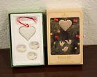 1981 LOVE AND JOY CERAMIC HEART & DOVES HALLMARK CHRISTMAS ORNAMENT MIB