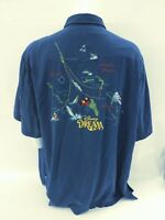 Tori Richard Disney Dream Cruise Blue Stitched Color Map Shirt Men's Size 3XL