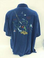 Tori Richard Disney Dream Cruise Blue Stitched Color Map Shirt Men's Size 3XL