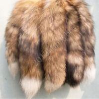 Soft Real Wild Animal Fox Fur Tail Handbag Keyring Charm Tassel Costume Decor