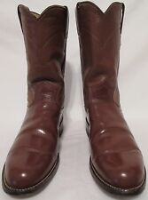 Justin Made USA Women's 5 1/2 B Brown Leather Western Cowgirl Boots Rodeo Shoes
