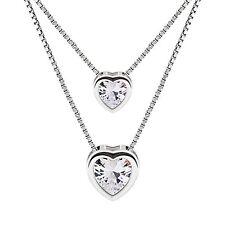Collar mujer plata de ley 925 con doble Corazón - B.catcher