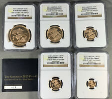 2015 Great Britain Gold Sovereign Five Coin Set NGC PF70 First Strike L.E. 600