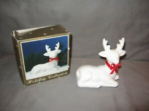 "Holiday Collection White Ceramic Reindeer Orig Box 4 1/4"" Tall GC"