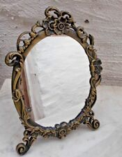 Table Top Oval Mirror Photo Frame in Art Nouveau Style Bronze Coloured Frame