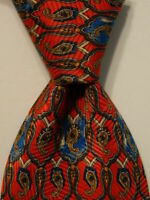 BRIONI Men's 100% Silk Necktie ITALY Luxury Designer Geometric Red/Blue/Gray EUC
