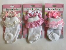 11 Piece Set Baby Infant Socks + Matching Hair Accessories White Pink NEW