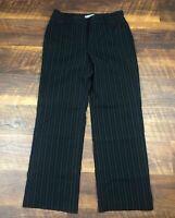 Ann Taylor Petites Black Pinstriped Lined Wide Leg 6P Career Women's Dress Pants