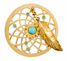 """Nikki Lissoni Gold Plated """"Turquoise Dreamcatcher Dangle Coin"""" C1402GM"""