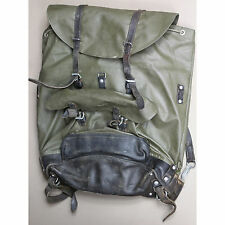 Swiss Vintage Alpine Leather and Rubberized Canvas Rucksack Backpack