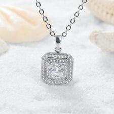 9K WHITE GOLD FILLED SQUARE NECKLACE MADE WITH SWAROVSKI CRYSTALS LADIES GIFT WG