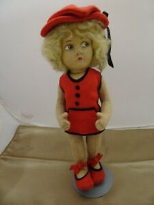 """11"""" Lenci Type Doll, Charming Whimsical Hat and in Very Good Condition"""